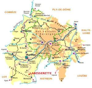 Labesserette sur la carte du Cantal